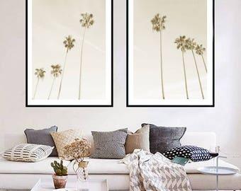 Palm Tree Prints Set of 2, Palm Tree Photo Print Tropical Wall Art, Coastal Decor Beach Printable Instant Download