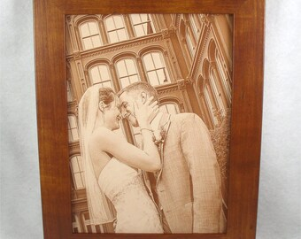 3rd Anniversary LEATHER PHOTOGRAPH Engraved in Real Leather - Leather Anniversary, Wedding Anniversary, Third Anniversary, 3rd Anniversary