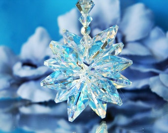 Silver Crystal Car Charm Rearview Mirror Accessories Swarovski Crystal Car Ornament