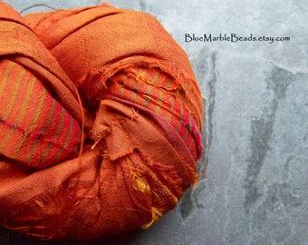 Recycled Sari Ribbon, Striped Ribbon, Silk Sari Ribbon, Reclaimed, Orange Ribbon, Tassel Ribbon, Vibrant Colors, Boho Ribbon, India, 5 Yards