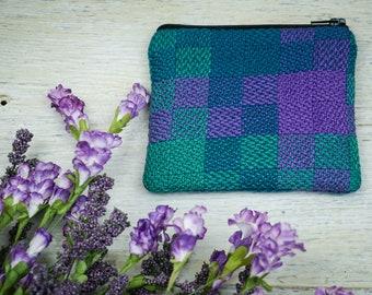 Handwoven Zipper Pouch / Coin Purse / Zipper Bag / Change Purse / Small Zipper Wallet / Makeup Bag / Notions Bag / Zipper Coin Purse