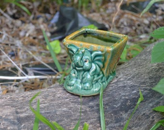 Vintage Majolica Good Luck Lucky Elephant Planter