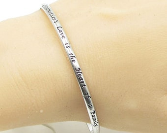 925 sterling silver - engraved grandmother love quote 4mm cuff bracelet b1088