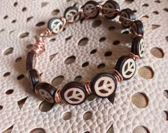 Wooden Peace Sign Wire Wrap Bracelet / Peace Sign Bracelet / Peace Bracelet / Wooden Bracelet / Bohemian Bracelet / Hippie Bracelet / Peace