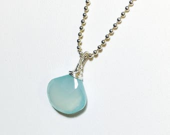 Aqua Chalcedony Pendant, Sterling Silver Solitaire, Briolette Gemstone Pendant, Aqua Blue, Gifts for Her, Gemstone Necklace