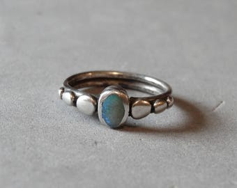 Vintage Tiny Sterling Silver Opal Ring Native Amercian Southwest Design Size 3 Signed Sterling Small Child Baby Jewelry