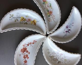 Antique Bone Plates Floral Crescent Side Plates Set 5 - #R0018