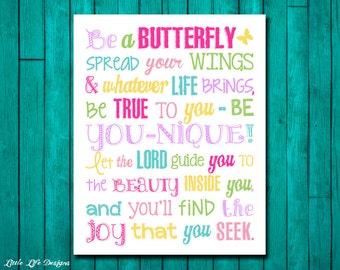 Christian Wall Art. Little Girls Wall Art. Girl Nursery Decor. Girls Room Decor. Butterfly Theme Decor. Christian Decor. Be a Butterfly.
