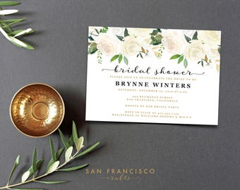 Bridal Shower Invitation Instant Download |  Editable Bridal Shower Invite Template | white, gold, roses, floral | BRYNNE Collection | PDF