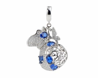 CDSWP53 DIY Jewelry Findings 925 Sterling Silver 3pcs/LOT Delicate Vase Blue CZ Wishing Pearl Cages Pendants Charms Mount