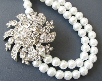 Statement Necklace Bridal Necklace Wedding Jewelry Bib Necklace Bridal Jewelry Pearl Necklace