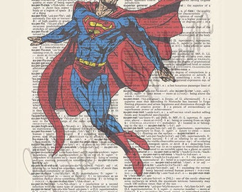 DC comics Superman on dictionary page print