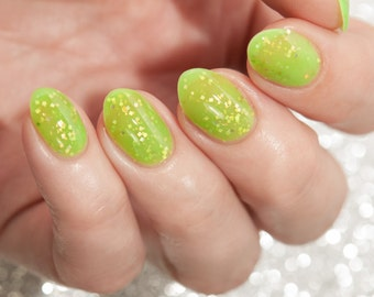 Bermuda - custom Summer Destinations scented lime green crelly gold square glitter flakies nail polish