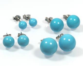 Turquoise Post Earrings , 6mm, 8mm, 10mm or 12mm, Blue Turquoise Bead Earrings, Made in Italy Sterling Silver 925 Earrings, Stud Earrings