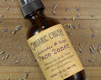 Lavender + Rose FACIAL TONER | Herbal Toner | Organic Skin Care | Rose Facial Toner | Anti-Aging | Anti-Acne | Balances Skin Tone