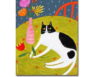 Original cat folk art BLACK and WHITE CAT painting spotted cat on table large original painting by Tascha 11x14