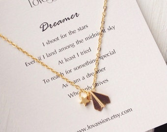 Gold Airplane Necklace, gold star necklace, star and airplane necklace wanderlust, meaningful gifts