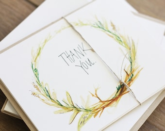 Thank You - Simple Thank You Card - Nature Lover - Wreath - Hand Lettered - Watercolor