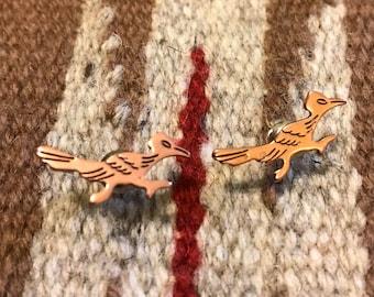 Vintage copper roadrunner earrings