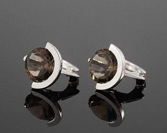 Quartz earrings, Silver earrings, Art deco earrings, Round earrings, Women earrings, 925 silver earrings, Stone earrings, Simple earrings