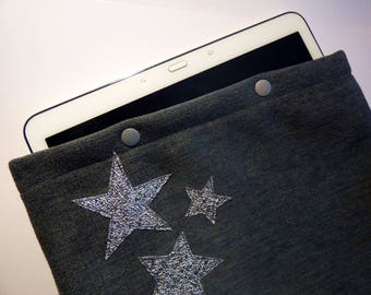 Cover / pouch / Eui for blue jean fabric Tablet padded - silver stars