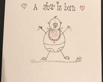 Hand drawn pink baby girl card. Individually drawn with pencil and ink. Can be personalised.