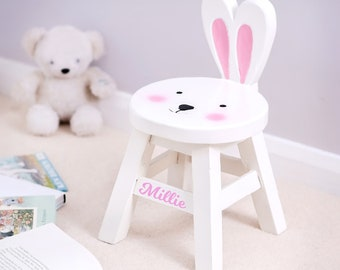 Child's Rabbit Stool - Personalised Chair - Bunny Stool - Rabbit chair - Children's Stool - Nursery furniture - Kid's furniture