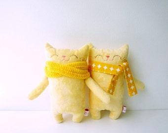 Children Stocking Stuffer, Children Stuffed Cat, Doll Cat, Plush Cat, Toy Cat, Yellow Cat - Gift for Girl