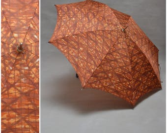 Vintage umbrella, Ladies 50's/60's Orange / brown checked umbrella with crook handle, Folding / collapsible  sunshade /  parasol, Rockabilly