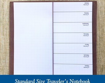 Standard Size Grid Week on One Page Traveler's Notebook Insert - Choose Dated or Undated
