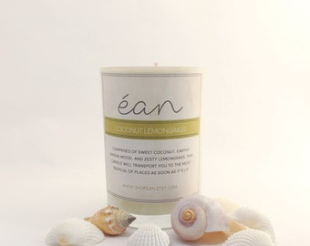 Summer Candle, Coconut Lemongrass Soy Candle, Sweet Coconut Scent, Natural Insect Repellent, Beachy Scent