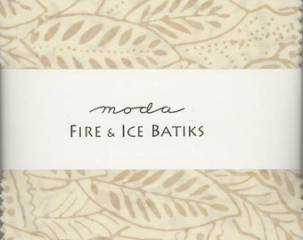 Fire & Ice Batiks Charm Pack from Moda, Set of 42 5-inch Precut Cotton Fabric Squares (4334PP)