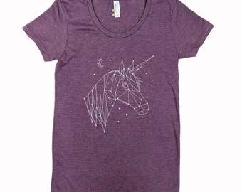 Lucky Unicorn Constellation Crescent Moon T-Shirt Heather Plum