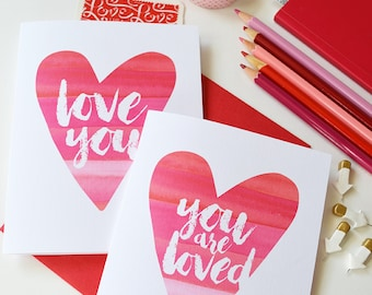 Set of four Valentines, Love you, you are loved, xo, Note Cards, Watercolor heart, Stationery, Hand-lettering, happy mail, Galentine's card