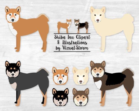 Shiba Inu Dog Clipart Japanese Spitz Dog Breed Illustration