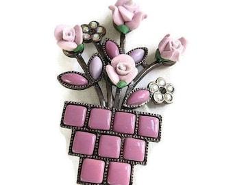 Flower Pot Brooch Pink & White Molded Plastic Aurora Borealis Rhinestones Vintage