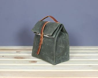 Waxed canvas lunch bag Canvas lunch box School lunch bag Picnic bag Snack bag Food bag Vintage lunch bag Old school lunch bag Olive