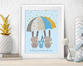 Nursery Prints, Nursery Bunny Decor, Nursery Art, Baby Woodland Decor, Nursery Blue Decor, Bunny Art, Blue Wall Art, New Baby Gift, Nursery