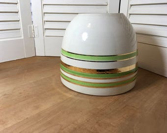 Gorgeous Green and Gold Striped Bowl