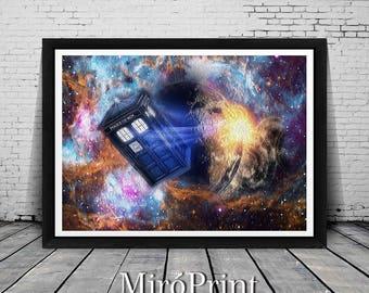 Doctor Who, Galaxy Print, Tardis Print, Doctor Who, Tardis, Doctor Who Art, Dr Who Wall Art, Dr Who Print, Dr Who Illustration, Dr Who Print
