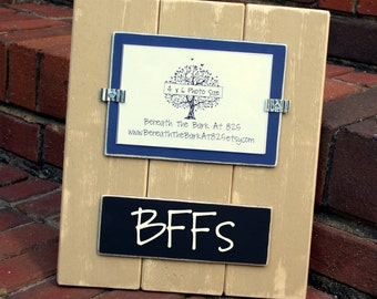 Wood Picture Frame with Chalkboard - Holds 4x6 Photo - Distressed Wood - Khaki & Navy - Black Chalkboard
