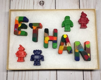 Personalized Crayons, Robot Crayons, Rainbow Crayons, Children's Gift, Gifts Under 15, Party Favors, Robot Party, Preschool Graduation,