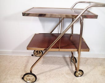 Mid Century Folding Bar Cart, Rid-Jid Serve 'n Style Foldaway Barclay Armor Coated top and shelf, gold tone frame and wheels Vintage