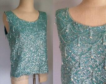 sale -- Vintage 1960s Aqua Beaded Sequin Top