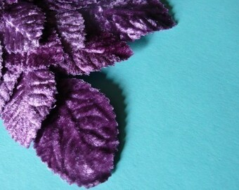Velvet Millinery Leaves in Light Plum Purple for Altered Art, Hats, Brooches, Corsages, Fascinators, Scrapbooking