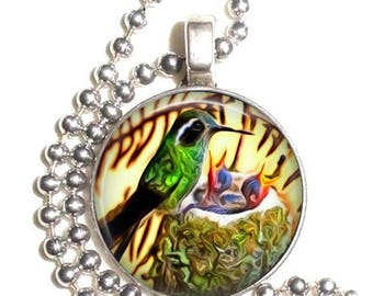 Mother's Day Art Pendant, Hummingbird with Chicks Painting Resin Photo Charm, Ball Chain Necklace