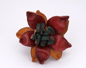 Festive Eco Friendly Leather Flower Bracelet