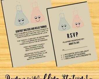 Cute Chemistry DIY Digital Printable Wedding Invite and RSVP Card