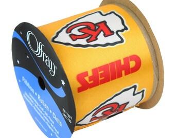 "2.5"" NFL Kansas City Chiefs Ribbon, 9 foot spool, Licensed NFL Offray Ribbon"