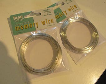 """2-1/4"""" Silver Plated Memory Wire, Bracelet Memory Wire, 1 oz Package Memory Wire; 70 Loops Silverplated Memory Wire"""